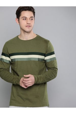 Difference of Opinion Men Olive Green Striped Round Neck T-shirt