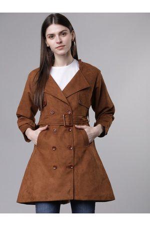 Tokyo Talkies Women Tan Brown Solid Tailored Jacket