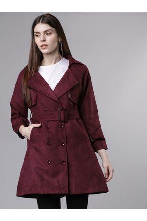 Tokyo Talkies Women Maroon Solid Tailored Jacket