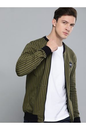 Difference of Opinion Men Olive Green & Black Striped Sweatshirt