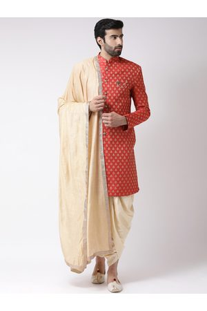 KISAH Men Red & Beige Printed Sherwani Set