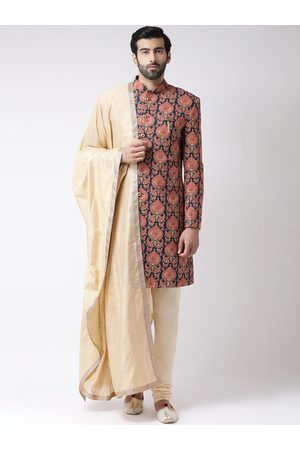 KISAH Men Navy Blue & Orange Printed Sherwani Set