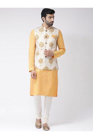 KISAH Men Yellow & White Solid Handloom Kurta with Churidar & Nehru Jacket