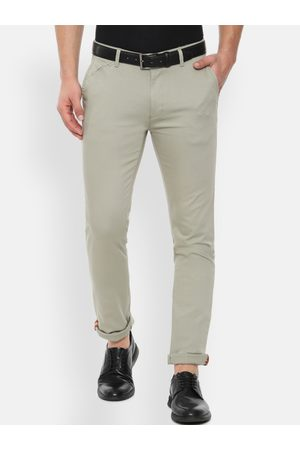 V Dot Men Khaki Slim Fit Solid Regular Trousers