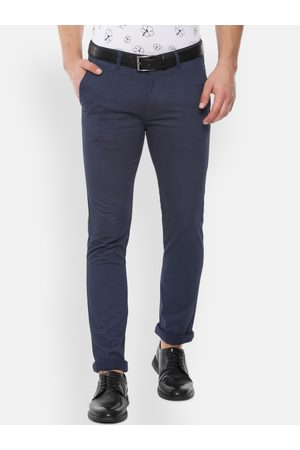 V Dot Men Navy Blue Slim Fit Self Design Regular Trousers