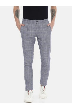 Jack & Jones Men Blue & White Slim Fit Checked Regular Trousers