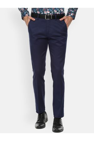 Louis Philippe Men Navy Blue Super Skinny Fit Solid Formal Trousers