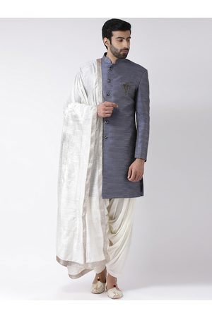 KISAH Men Blue & Off White Woven Design Sherwani With Stole