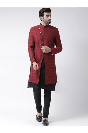 KISAH Men Maroon & Black Self-Design Banarasi Jacquard Cotton-Silk Sherwani Set