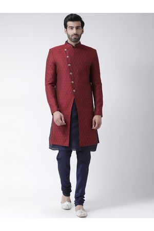 KISAH Men Maroon & Navy Blue Self-Design Banarasi Jacquard Cotton-Silk Sherwani Set