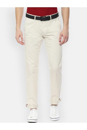 Louis Philippe Men Off-White Slim Fit Solid Regular Trousers