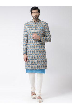 KISAH Men Blue & Beige Printed Cotton Sherwani Set