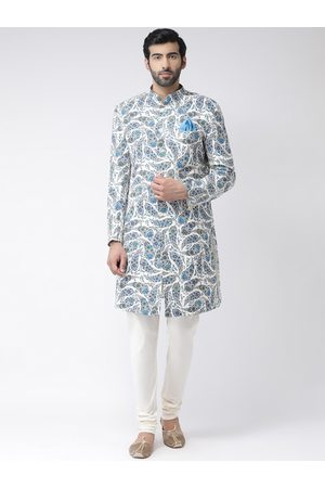KISAH Men Blue & Off-White Handloom Printed Sherwani