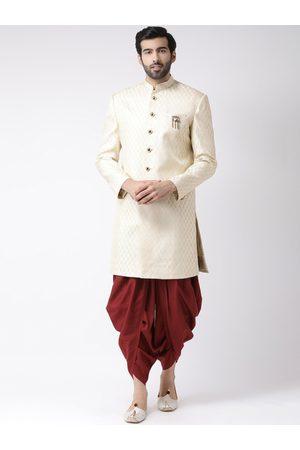 KISAH Men Off-White & Maroon Woven Design Sherwani
