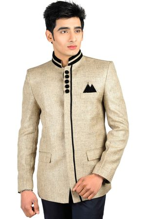 Wintage Men Beige Single-Breasted Tailored Fit Ethnic Bandhgala Blazer