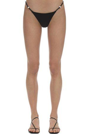 Solid April Beaded Lycra Bikini Bottoms