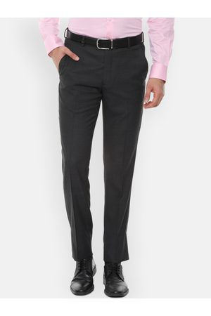 Louis Philippe Men Charcoal Grey Slim Fit Self Design Formal Trousers