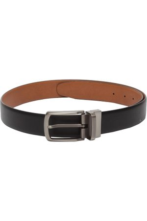 amicraft Men Black & Tan Brown Reversible Textured Belt