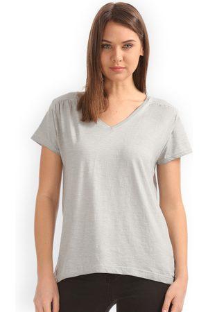 Cherokee Women Grey Solid Top