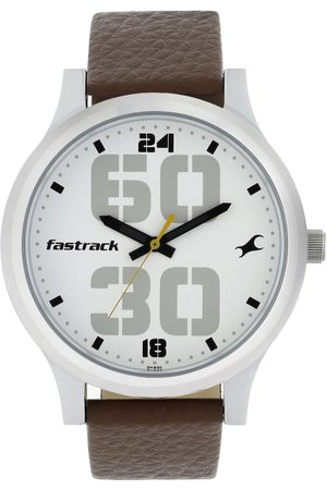 Fastrack Men White Analogue Leather Watch