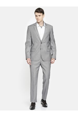 Arrow Men Grey Self Design Body Tailored Fit Single-Breasted Formal Suit