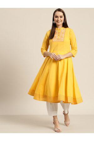 Sangria Women Yellow Yoke Design Anarkali Kurta