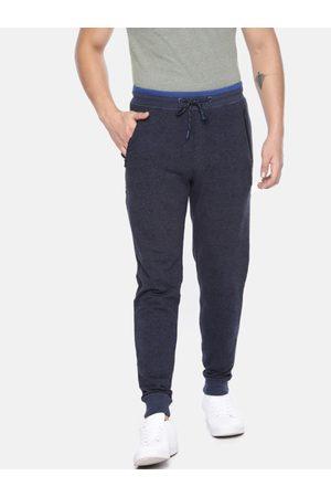 Van Heusen Athleisure Men Navy Blue Printed Metropolis Slim Fit Joggers