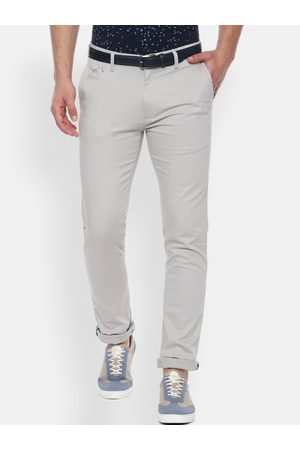 V Dot Men Grey Slim Fit Solid Regular Trousers
