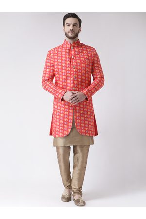 Hangup Men Orange & Brown Printed Sherwani Set