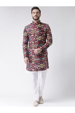 Hangup Men Orange & Blue Printed Sherwani Set