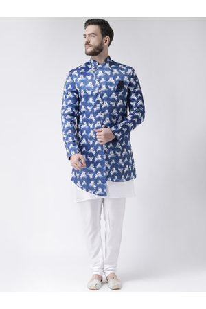 Hangup Men Blue & White Printed Sherwani Set