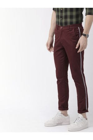 The Indian Garage Co Men Burgundy Slim Fit Solid Chinos