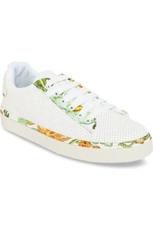 Elle Women White Perforated Sneakers