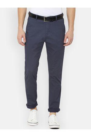 Van Heusen Men Slim Trousers - Men Navy Blue Slim Fit Printed Regular Trousers
