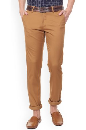 Van Heusen Men Brown Slim Fit Self Design Regular Trousers
