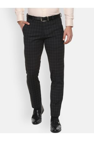 Van Heusen Men Black Slim Fit Checked Formal Trousers