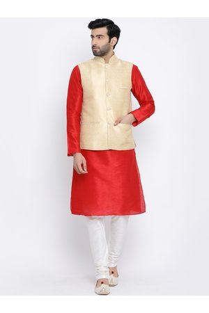 NAMASKAR Men White & Red Self Design Kurta with Churidar