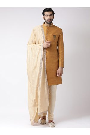 KISAH Men Mustard Brown & Beige Printed Sherwani Set
