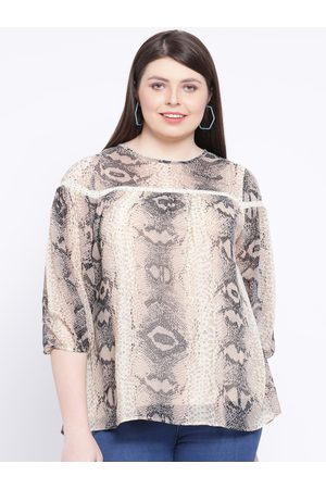 Oxolloxo Women Beige Snake Print A-Line Top