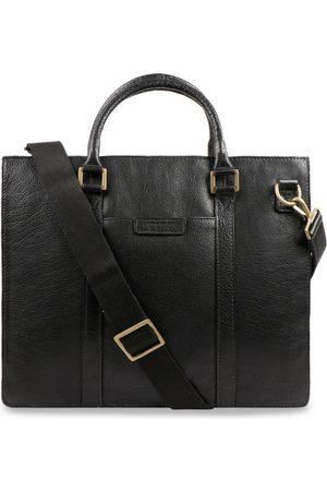 Hidesign Men Black Solid Leather Laptop Bag