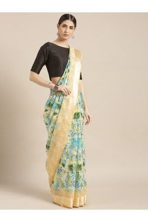 Blissta Women's Blue Silk Cotton Floral Digital Printed Saree