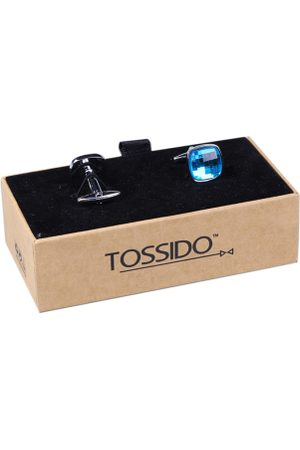 Tossido Men Blue Solid Cufflinks