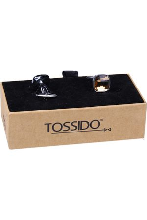 Tossido Men Brown Solid Cufflinks
