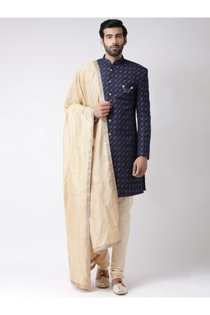 KISAH Men Navy Blue & Cream-Coloured Handloom Woven Design Sherwani With Stole