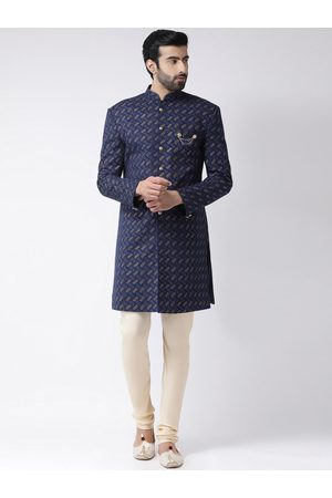 KISAH Men Navy Blue & Cream-Coloured Handloom Woven Design Sherwani