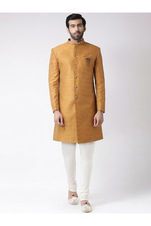 KISAH Men Mustard Yellow & Off-White Solid Sherwani