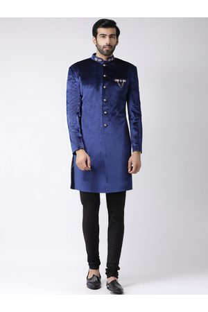 KISAH Men Blue & Black Printed Sherwani & Churidar With Velvet Finish