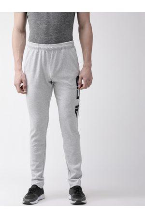 Alcis Men Slim Trousers - Men Grey Melange Solid Slim Fit Track Pants