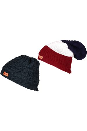 Knotyy Men Set Of 2 Blue and Red Solid Beanie