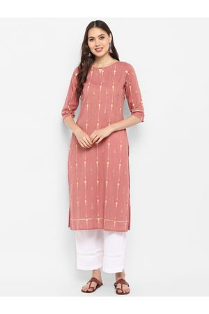 Janasya Women Pink & White Printed Kurti with Palazzos